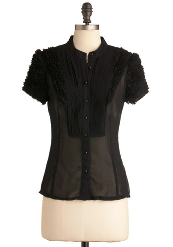 Gallery Walk Top - Mid-length, Black, Solid, Buttons, Ruffles, Work, Vintage Inspired, Short Sleeves