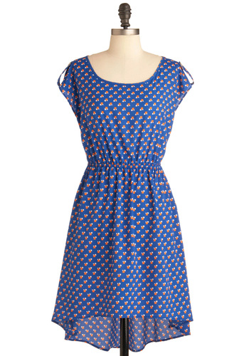 Where Shall We Go Dress - Mid-length, Blue, Orange, White, Print, A-line, Casual, Epaulets, Cap Sleeves, High-Low Hem
