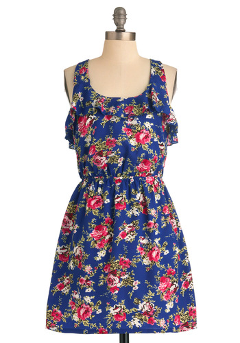 Lawn a Roll Dress - Mid-length, Blue, Green, Pink, White, Floral, Ruffles, A-line, Racerback, Casual, Multi, Summer, Tis the Season Sale