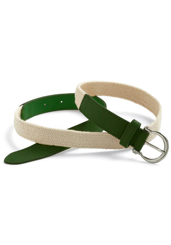 Flat Hunting Belt in Green - Green, Tan / Cream, Casual