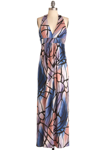 With Open Wings Dress - Long, Multi, Blue, Purple, Pink, Black, Print, Maxi, Halter, Casual, Empire, Summer, Spring, Boho, Jersey, Beach/Resort