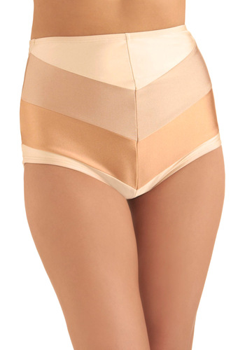 Chevron the Boardwalk Swimsuit Bottom in Sand by Fables by Barrie - Vintage Inspired, Tan / Cream, Stripes, Pink, Summer