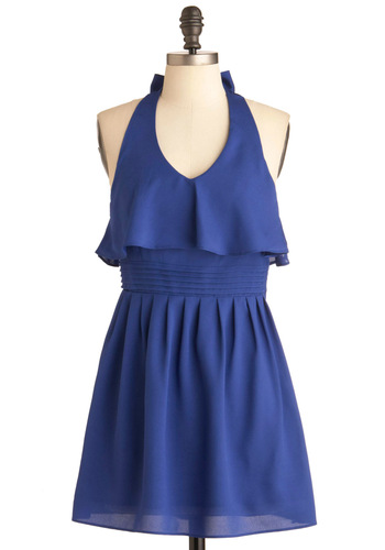 Through the Sprinkler Dress - Short, Blue, Solid, Ruffles, Empire, Halter, Party