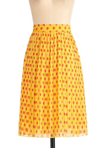 Fro-Yo Enjoyment Skirt in Lemon - Long, Yellow, Red, Polka Dots, Pleats, Casual, Vintage Inspired, Spring, Summer, 60s