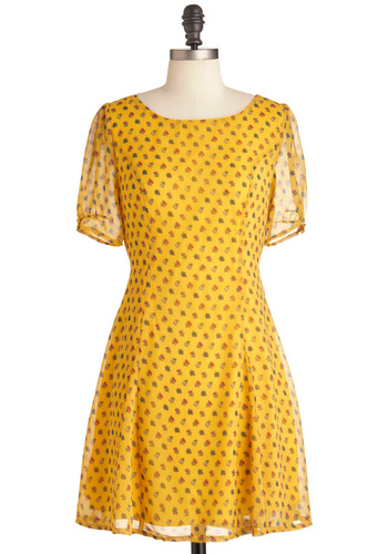 Sunny State of Mind Dress - Mid-length, Yellow, Red, Green, White, Floral, Short Sleeves, Multi, Casual, Sheath / Shift