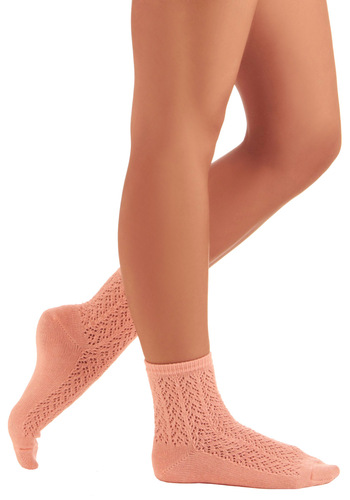 Sole Warming Socks in Peach - Orange, Solid
