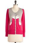 Hugs to Go Cardigan - Pink, Grey, White, Casual, Long Sleeve, Mid-length, Button Down, Quirky, Tis the Season Sale