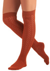 A Leg Up Socks in Terracotta - Casual, Vintage Inspired, Solid, Copper, Knitted, 90s, Winter