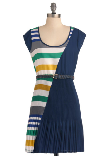 Hidden Gem Dress - Mid-length, Blue, Yellow, Green, Grey, White, Stripes, Pleats, Shift, Cap Sleeves, Nautical