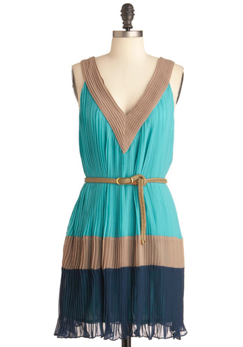 More Swish in the Sea Dress - Mid-length, Brown, Pleats, Sheath / Shift, Tank top (2 thick straps), Casual, Blue