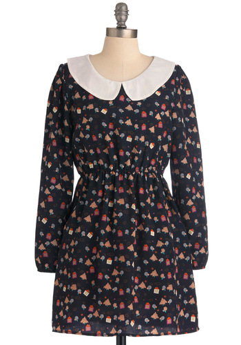 We Wood if We Could Dress - Black, Multi, Novelty Print, Peter Pan Collar, Pockets, Casual, Vintage Inspired, Long Sleeve, Fall, Multi, 60s, A-line, Short, Collared
