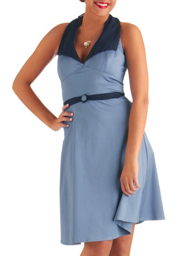 At the Hop Dress - Mid-length, Blue, Solid, Buttons, A-line, Halter, Casual, Summer