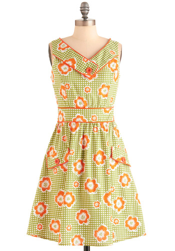 Best Daisy Ever Dress in Green - Mid-length, Green, Orange, White, Checkered / Gingham, Floral, Buttons, Pockets, A-line, Party, Vintage Inspired, 60s, 70s, Sleeveless