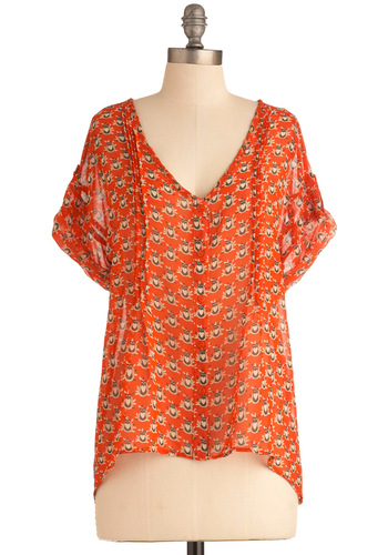 I'm a Wise One Top - Mid-length, Casual, Print with Animals, Buttons, Pleats, Owls, Short Sleeves, Orange, Brown, White, Sheer, Coral