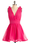 Anything Flamingos Dress - Mid-length, Pink, Solid, Beads, Flower, A-line, Tank top (2 thick straps), Party, Wedding