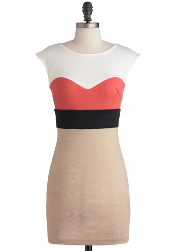 Rhythm and Hues Dress in Ivory - Short, Orange, Black, White, Shift, Cap Sleeves, Urban, Multi, Tan / Cream, Party, Girls Night Out, Bodycon / Bandage