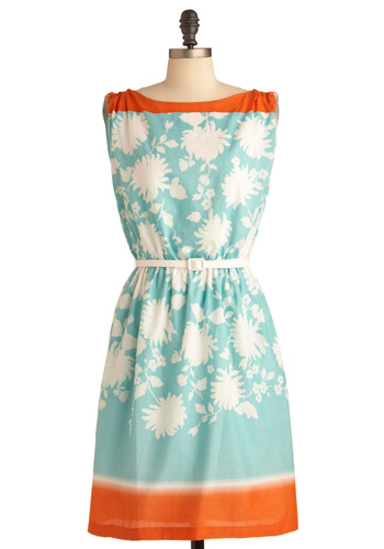 It Takes All Resorts Dress - Orange, White, Floral, Buttons, Sheath / Shift, Vintage Inspired, Blue, Multi, Pockets, Casual, 70s, Sleeveless, Summer, Mid-length