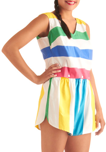 Relay Race Champ Romper by Bettie Page - Casual, Vintage Inspired, Multi, Yellow, Green, Blue, Pink, White, Stripes, Buttons, Sleeveless, Summer, Backless, 90s, Long, Beach/Resort
