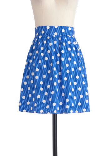 Sunny Saturday Skirt - Mid-length, Blue, White, Polka Dots, Casual, Summer