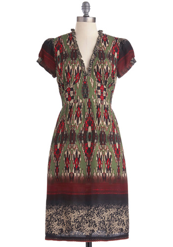 Ikat Resist Dress - Long, Red, Tan / Cream, Print, Sheath / Shift, Short Sleeves, Multi, Green, Black, Work