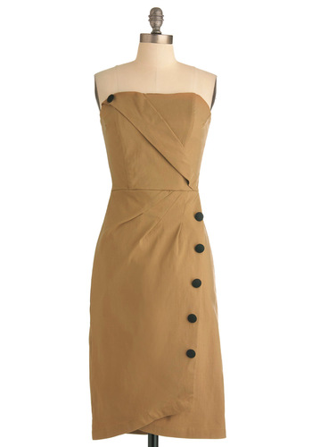 Backstage Jitters Dress in Caramel - Solid, Buttons, Shift, Strapless, Rockabilly, Vintage Inspired, Pinup, Tan, Black, Party, Exclusives, Long, Variation, 40s, 50s