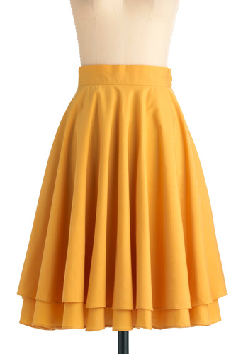 Essential Elegance Skirt in Yellow - Work, Casual, Vintage Inspired, Yellow, Solid, Tiered, Spring, Summer, Mid-length