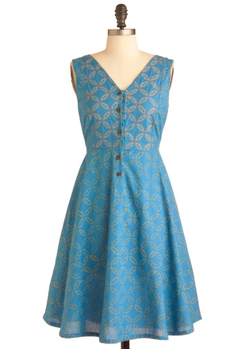 Follow the Sunshine Dress by Mata Traders - Mid-length, Blue, Print, Buttons, Pockets, A-line, Casual, Yellow, Handmade & DIY, Sleeveless