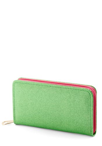 More Bling for Your Buck Wallet in Green - Green, Pink, Statement, Exposed zipper