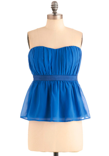 Sweetheart Caroline Top - Blue, Solid, Pleats, Wedding, Party, Vintage Inspired, Strapless, Summer, Mid-length