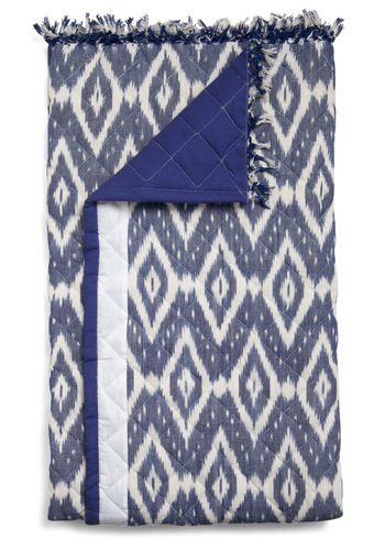 Ikats the Stuff Throw by Karma Living - Blue, White, Print, Tassles, Folk Art