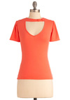 Raven Review Top in Tiger Lily - Orange, Solid, Buttons, Cutout, Vintage Inspired, 60s, Short Sleeves, Spring, Mid-length