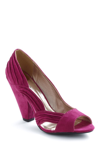 Cascade You Look Heel in Fuchsia - Vintage Inspired, Purple, Solid, Cutout, Party, Faux Leather, High, Chunky heel