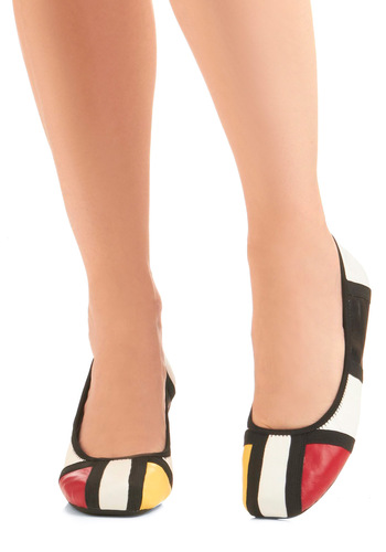 The Geometric System Flat - Casual, Statement, Multi, Red, Yellow, Black, White, 60s, Vintage Inspired, Leather, Flat