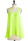 Glow About Your Day Top - Green, Solid, Cutout, Casual, Tank top (2 thick straps), Summer, Ruffles, Vintage Inspired, 80s, Mid-length, Neon, Sheer