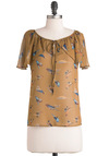 Finch Me, I'm Dreaming Top - Mid-length, Print with Animals, Casual, Vintage Inspired, Short Sleeves, Yellow, Blue