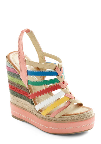 Chalk About Cute Wedge - Multi, Red, Yellow, Green, Blue, Pink, Tan / Cream, White, Stripes, Braided, Woven, Casual, Summer, Wedge