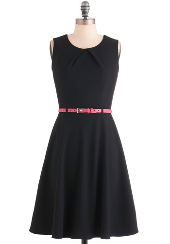 Positively Perfect Dress - Mid-length, Black, Solid, A-line, Work, Sleeveless