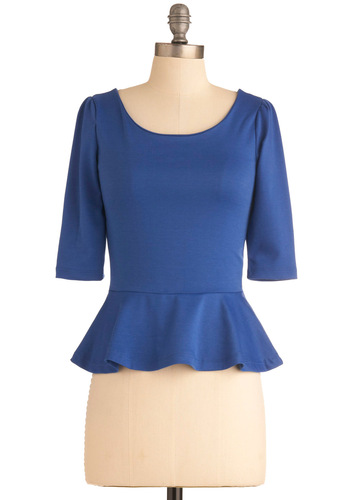 I Can Seed Clearly Top in Blueberry - Blue, Solid, Exposed zipper, Ruffles, Work, Vintage Inspired, 40s, 3/4 Sleeve, Mid-length
