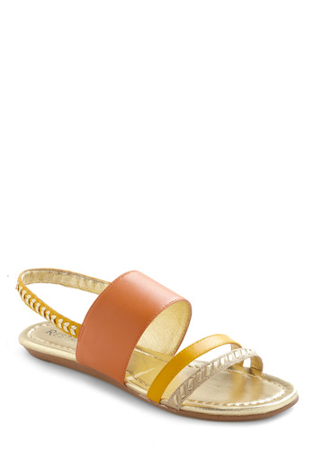 Brightest Foot Forward Sandal by Restricted - Orange, Yellow, Tan / Cream, Gold, Woven, Casual, Summer