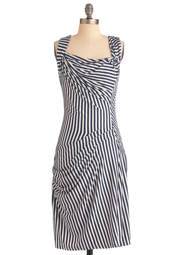 Gathering Together Dress - Long, White, Stripes, Shift, Tank top (2 thick straps), Casual, Blue, Pleats, Nautical, Ruching