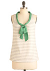 High Tied Top - Mid-length, Casual, Nautical, Cream, Green, Grey, Stripes, Bows, Tank top (2 thick straps), Summer