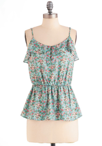 The Future is Bough Top - Mid-length, Blue, Floral, Buttons, Ruffles, Casual, Spaghetti Straps, Multi, Green, Pink, Pastel