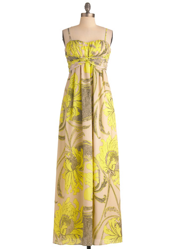Glowing in Your Garden Dress - Long, Yellow, Tan / Cream, Grey, Floral, Maxi, Spaghetti Straps, Party