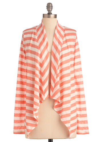 Weekend Walks Cardigan - Short, Orange, Stripes, Casual, Long Sleeve, Spring, White