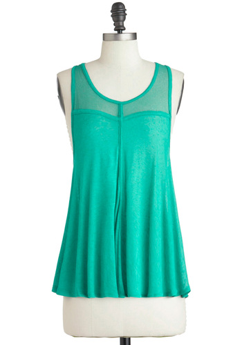 Under My Beach Umbrella Top - Green, Solid, Casual, Racerback, Mid-length