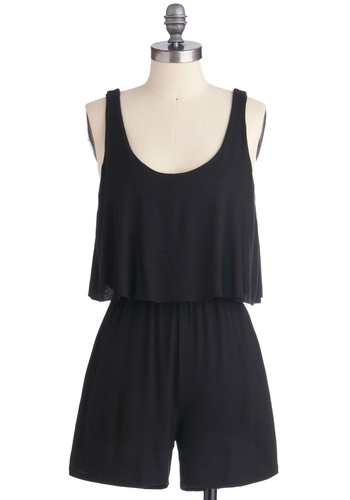 C'est Bonfire Romper - Black, Solid, Pockets, Tiered, Casual, Tank top (2 thick straps), Summer, Long