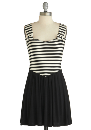 Sample 1749 - Black, White, Stripes, Bows, A-line, Tank top (2 thick straps), Party