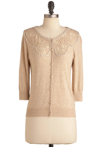 Here to Winsome Cardigan by Darling - Mid-length, Cream, Solid, Beads, Lace, Party, Work, Vintage Inspired, 3/4 Sleeve