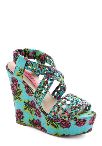 Betsey Johnson All Braid Up Wedge by Betsey Johnson - Multi, Pink, Floral, Woven, Summer, Blue, Party, Statement, Wedge