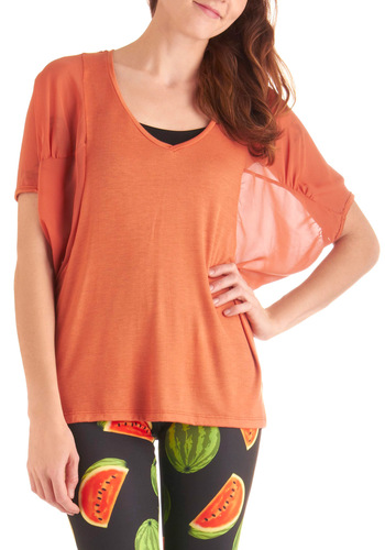 Sweet-Smelling Breeze Top - Casual, Orange, Solid, Short Sleeves, Summer, Mid-length